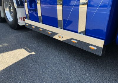 Stainless Steel Tank Skirt Square 1850 Endcap 7 LED Amber To Suit Kenworth/Freightliner/Iveco/Mercedes