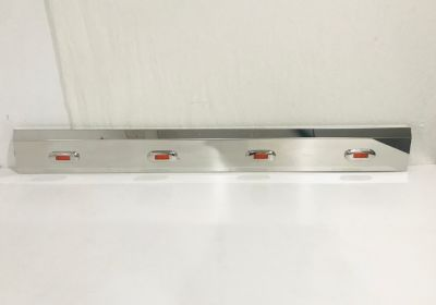 Stainless Steel End Cap Tank Skirt Square 875mm 3 LED Amber To Suit Kenworth/Freightliner/Iveco/Mercedes