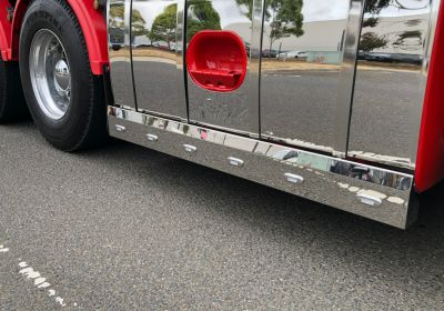 Stainless Steel Tank Skirt Square 1850 Endcap LED Clear/Amber Single To Suit Kenworth/Freightliner/Iveco
