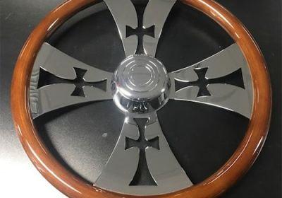 Steering Wheel 4 Spoke Iron Cross Chrome