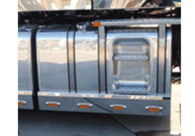 Stainless Steel Tank Skirt Square 870MM 4 LED Amber Single To Suit Kenworth/Freightliner/Iveco